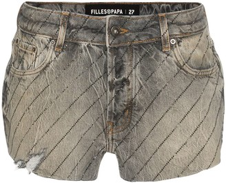 Filles a papa Gem-Embellished Cut-Off Denim Shorts