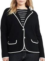 Lauren Ralph Lauren Plus Contrast Trim Knit Blazer