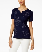 Alfred Dunner Petite Lady Liberty Embellished Fireworks Graphic Top