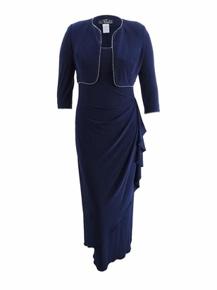 Alex Evenings Women's Matte Jersey Side Wrap Long Dress and Rhinestone Trim Bolero Jacket