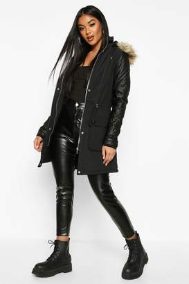 boohoo Quilted Leather Look PU Sleeve Parka
