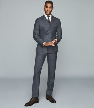 Reiss Potosi - Wool Silk Blend Double Breasted Blazer in Indigo