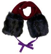 Sportmax Rib Knit Fur Scarf
