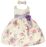 Cinderella Couture Baby Girls Lilac Floral Printed Jacquard Sash Hair Bow Dress 24M