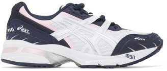 Asics White and Navy GEL-1090 Sneakers