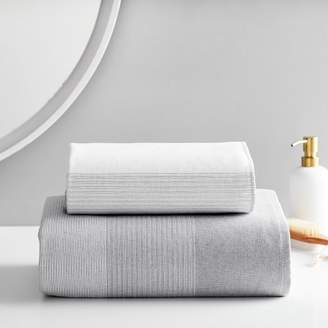 west elm Organic Dobby Ombre Stripe Towels - Pewter
