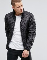 Blend of America Quilted Jacket Nylon Diamond Stitch in Black