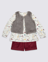 Marks and Spencer 3 Piece Top & Gilet with Shorts (3 Months - 5 Years)
