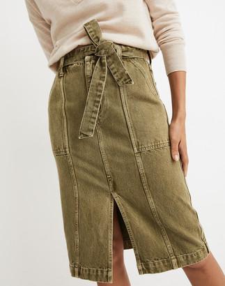 Madewell Garment-Dyed Rigid Denim Seamed Midi Skirt