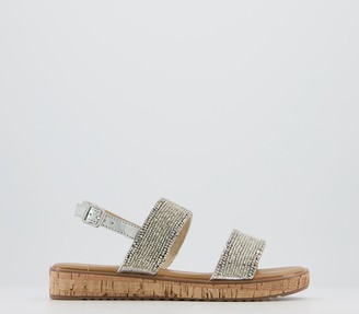 Office Sensibility Cork Sandals Silver