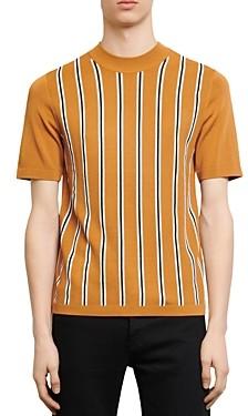 Sandro Simon Striped-Front Short-Sleeved Sweater
