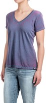 Specially made Heathered High-Low Knit Shirt - V-Neck, Short Sleeve (For Women)