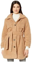 Blank NYC Faux Sherpa Belted Coat in Toffee (Camel) Women's Clothing