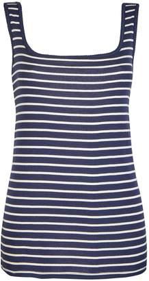 Dorothy Perkins Womens **Tall Navy Stripe Pique Cotton Vest
