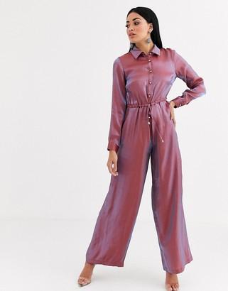 Forever U metallic jumpsuit in blush pink
