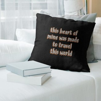 "East Urban Home Travel Love Quote Chalkboard Style Pillow Size: 26"" x 26"", Color: Orange"