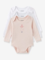 Vertbaudet Pack of 3 Coloured Baby Long-Sleeved Bodysuits, Yacht Motif, Organic Collection