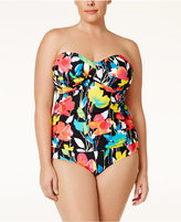 Anne Cole Plus Size Growing Floral-Print Twist-Front One-Piece Swimsuit