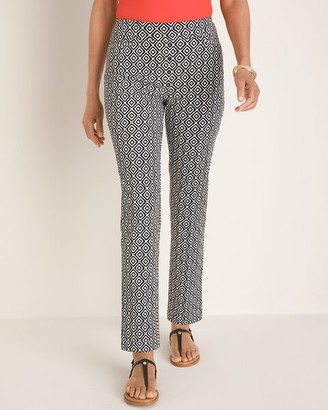 So Slimming Brigitte Ikat-Print Slim Ankle Pants
