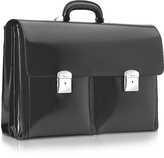 Pineider 1949 - Black Calfskin Triple Gusset Briefcase