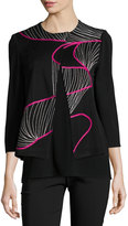Ming Wang Asymmetric-Front Embroidered Knit Jacket, Multi