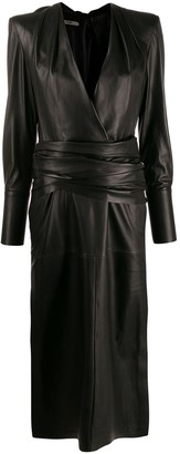 Fendi knotted leather midi dress