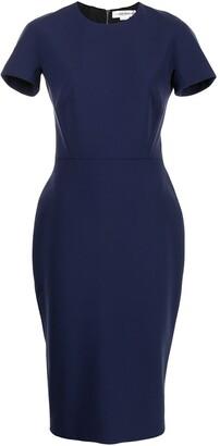 Victoria Beckham Short Sleeve Fitted Midi Dress