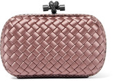Bottega Veneta The Knot Watersnake-trimmed Intrecciato Satin Clutch - Blush