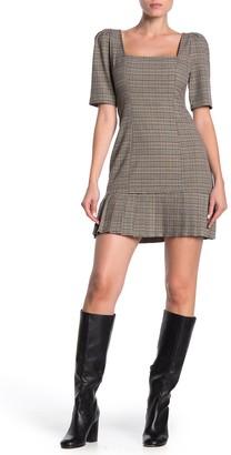 BCBGeneration Plaid Elbow Sleeve Pleated Mini Dress