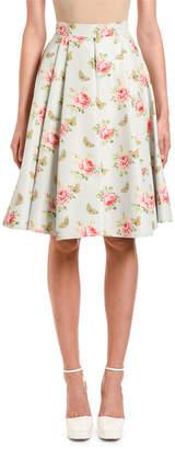 Prada Rose & Butterfly Print Faille Skirt