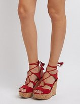 Charlotte Russe Lace-Up Cork Wedge Sandals