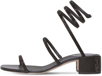 Rene Caovilla 40mm Snake Swarovski Satin Sandals