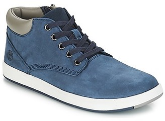 Timberland Davis Square Leather Chk girls's Shoes (High-top Trainers) in Blue