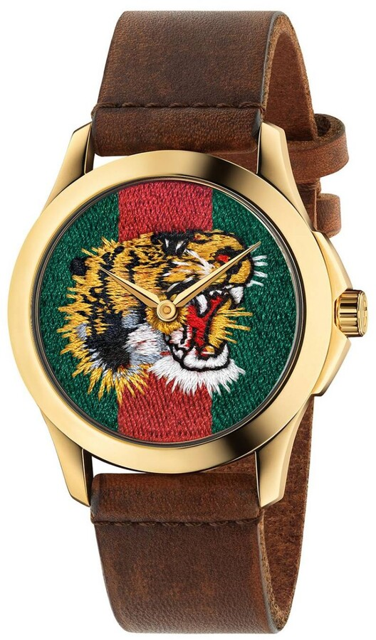 Gucci Watch Le Marché Des Merveilles Watch 38mm Case With Angry Cat Pattern