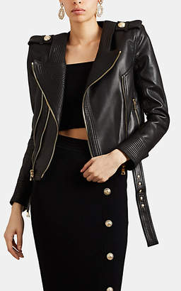Balmain Women's Quilted Leather Moto Jacket - Black