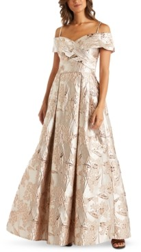 Night Way Nightway Floral-Brocade Cold-Shoulder Ball Gown