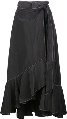 Ganni Ruffle-Trim Asymmetric Skirt
