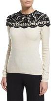 Naeem Khan Embellished-Yoke Cashmere Sweater, Ivory/Black