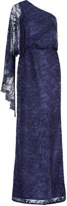 Aidan Mattox One Shoulder Gown With Capelet