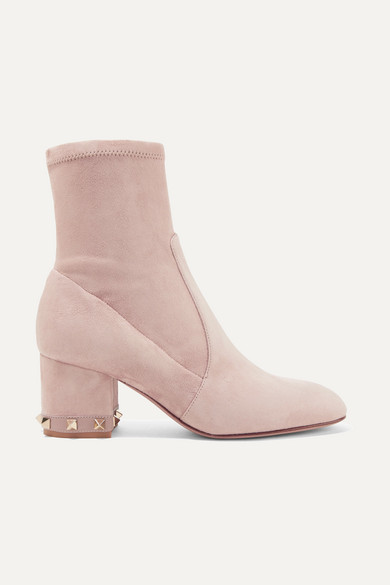 Valentino Garavani The Rockstud Leather-trimmed Suede Ankle Boots - Blush