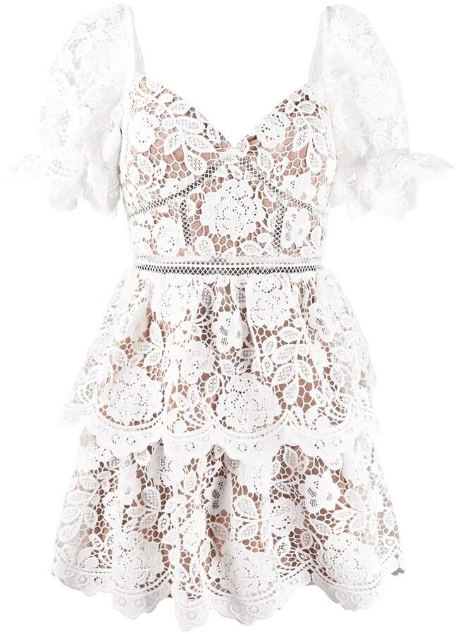 Self-Portrait sweetheart-neckling lace mini dress