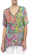 Johnny Was Collection Silk Print Short-Sleeved Tunic