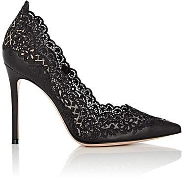 Gianvito Rossi Women's Evie Leather & Lace Pumps - Black