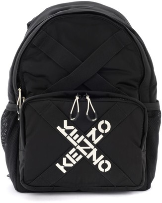 Kenzo Cross Backpack In Black Fabric With Logo