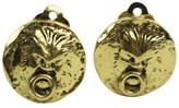Chanel Lion Gold Tone Hardware CC Earrings