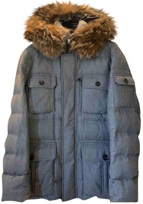 Moncler Fur Hood Grey Wool Coats