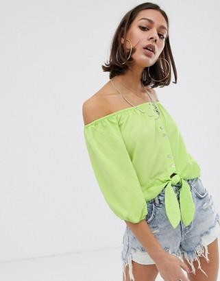Bershka bardot blouse in green