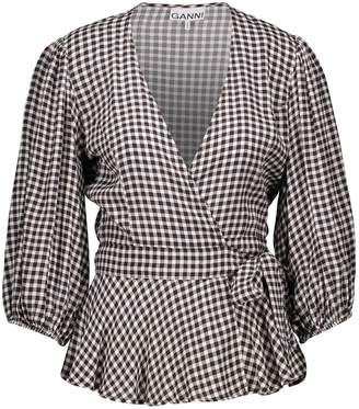 Ganni Printed wrap blouse
