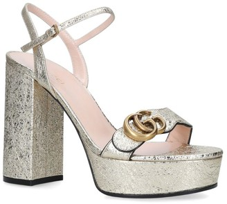 Gucci Metallic Marmont Platform Sandals 85