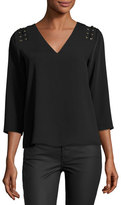 Cooper & Ella Adel 3/4-Sleeve Lace-Up Blouse, Black